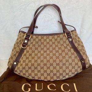 492697eb000 GUCCI Authentic GG Canvas Medium Abbey Tote Bag